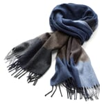 Men's Scarf Made of Cashmere and Wool Blue-Brown