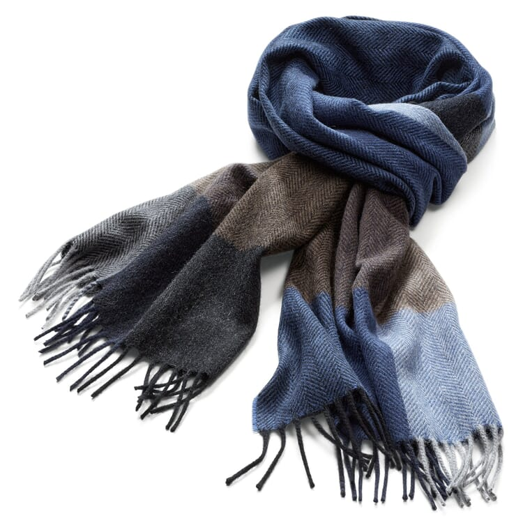 Men's Scarf Made of Cashmere and Wool, Blue-Brown
