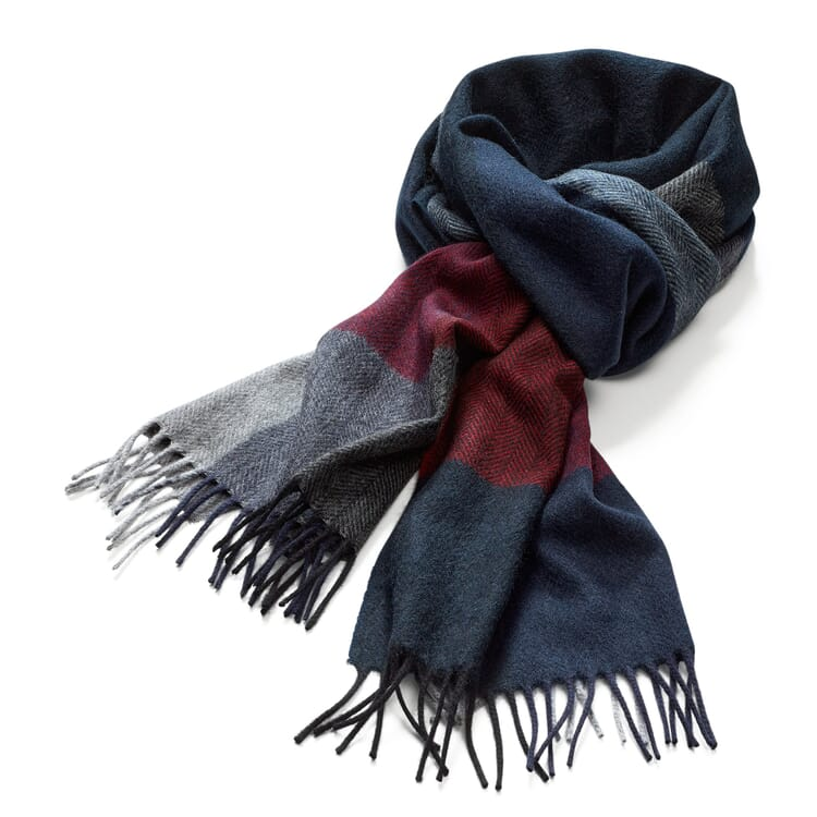 Men's Scarf Made of Cashmere and Wool, Dark Blue-Red
