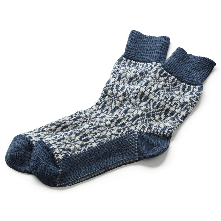 Jacquard-Knit Socks Made of Virgin Wool, Blue