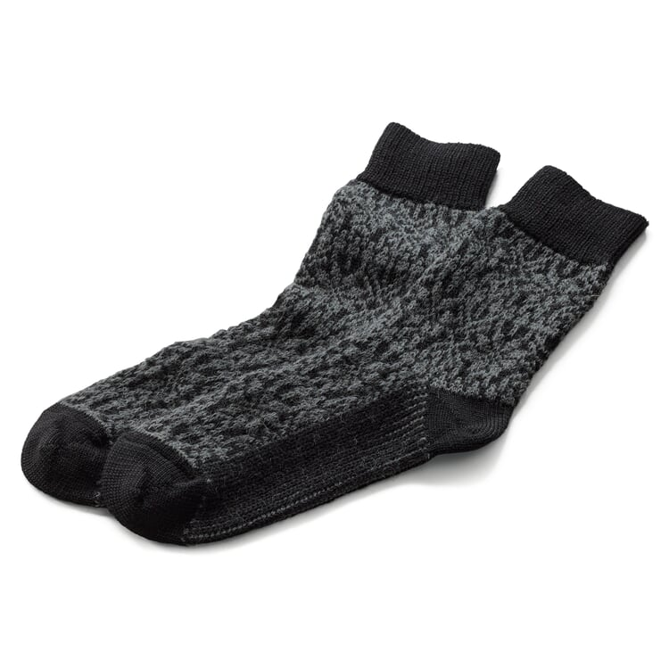 Socke Jacquard Schurwolle Anthrazit