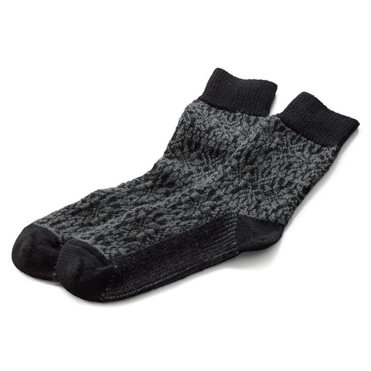 Socke Jacquard Schurwolle, Anthrazit