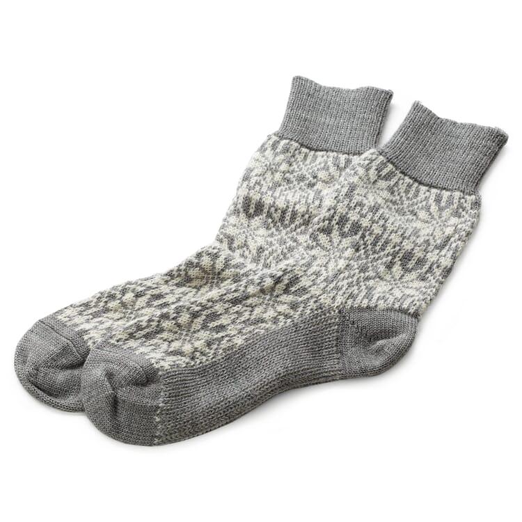 Jacquard-Knit Socks Made of Virgin Wool, Grey