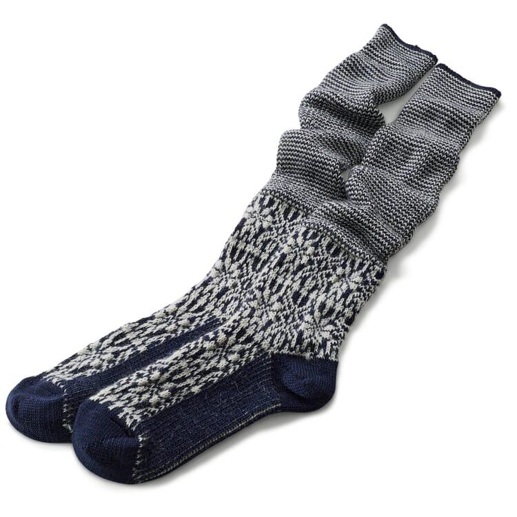 Knee-Length Socks Made of Jacquard-Knitted Virgin Wool, Dark blue