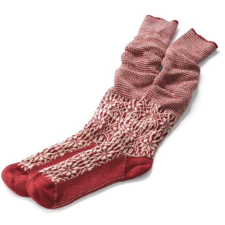 Knee-Length Socks Made of Jacquard-Knitted Virgin Wool, Red