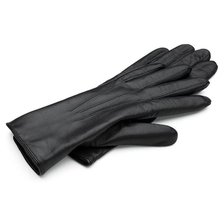 Women's Leather Glove Made from Hair Sheepskin, Black