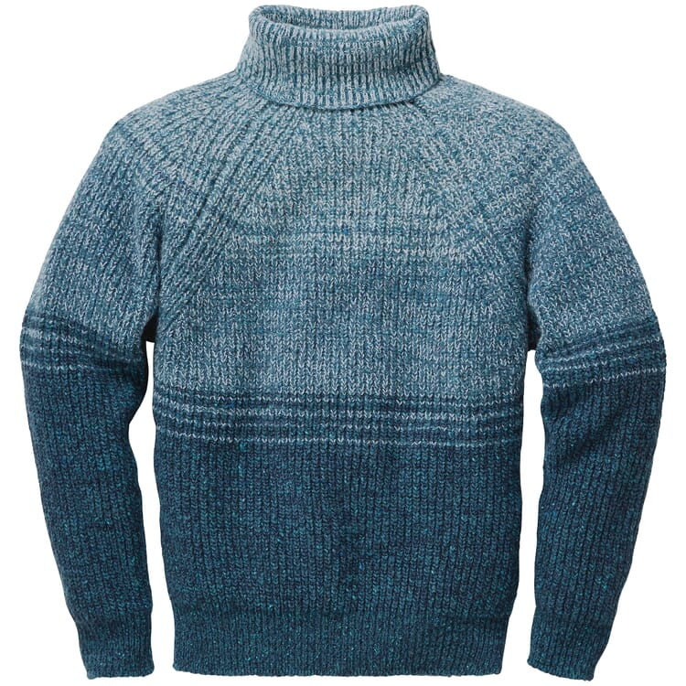 Men's Sweater Made of Donegal Yarns, Blue-Green