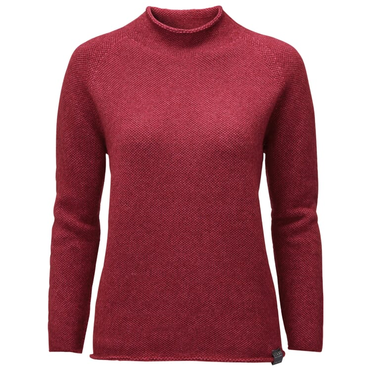 Women's Sweater with a Banded Collar, Red
