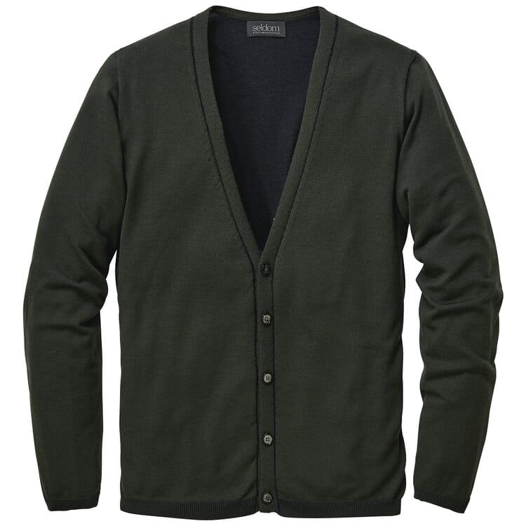 Men's Cardigan Wool-Cotton, Green