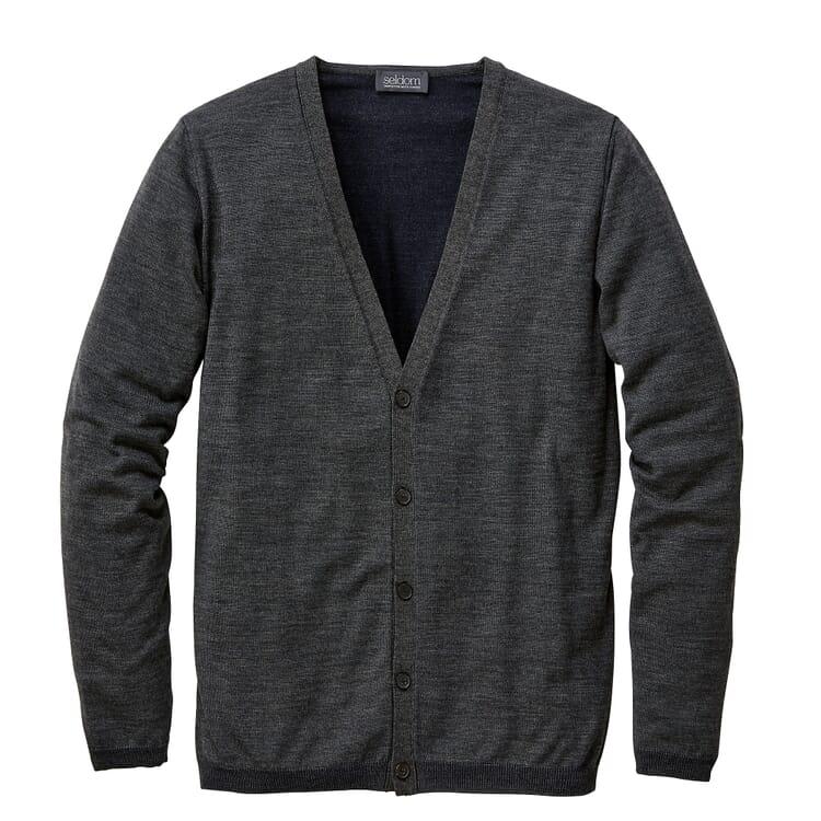 Men's Cardigan Wool-Cotton, Anthracite