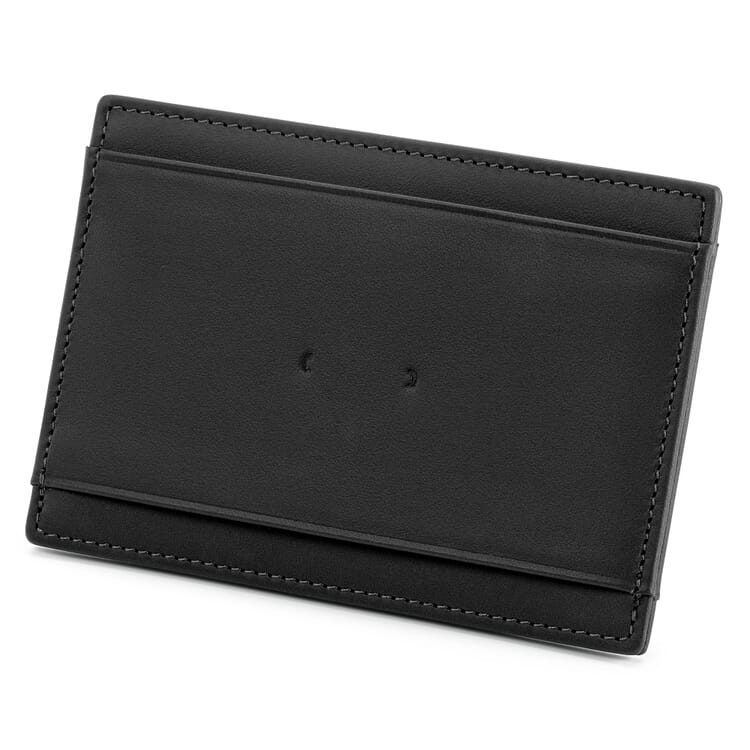 Card Case Made of Cowhide, Black