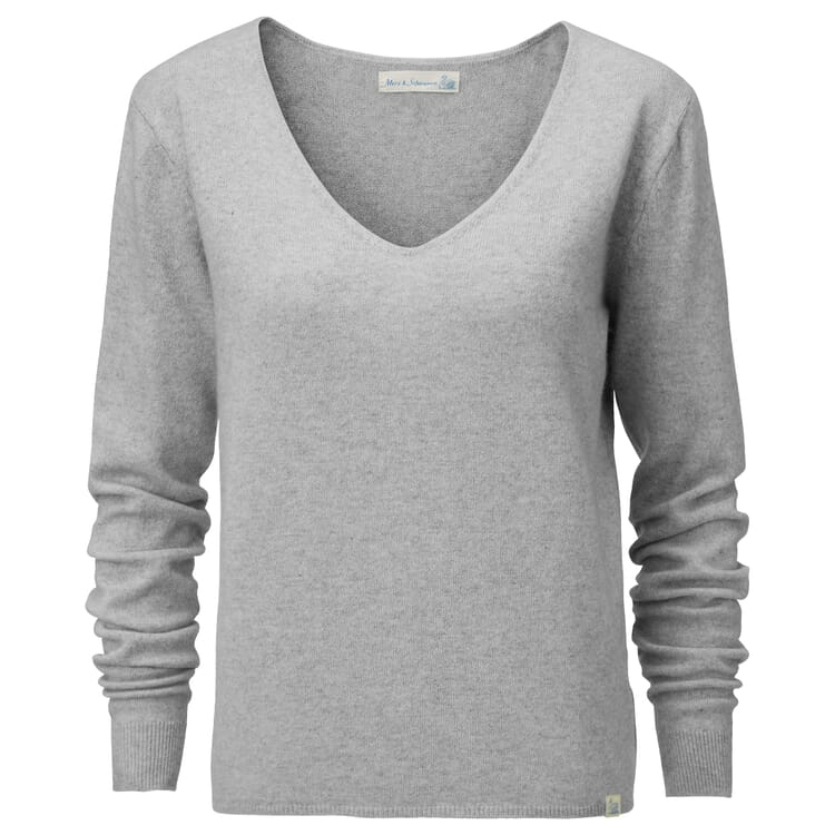 Women's Sweater with a V-Neck, Light grey
