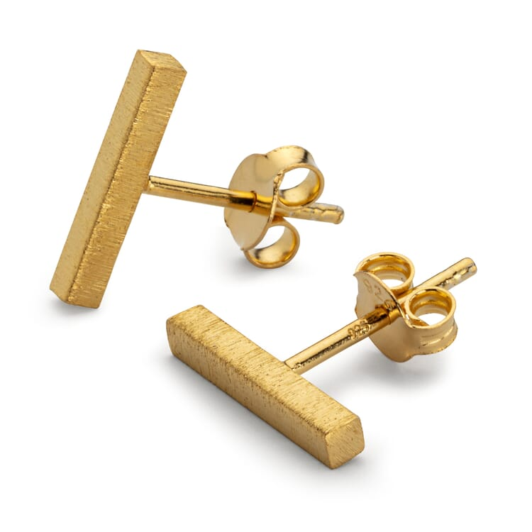Stud Earrings Bar Made of Brushed Silver, Gold
