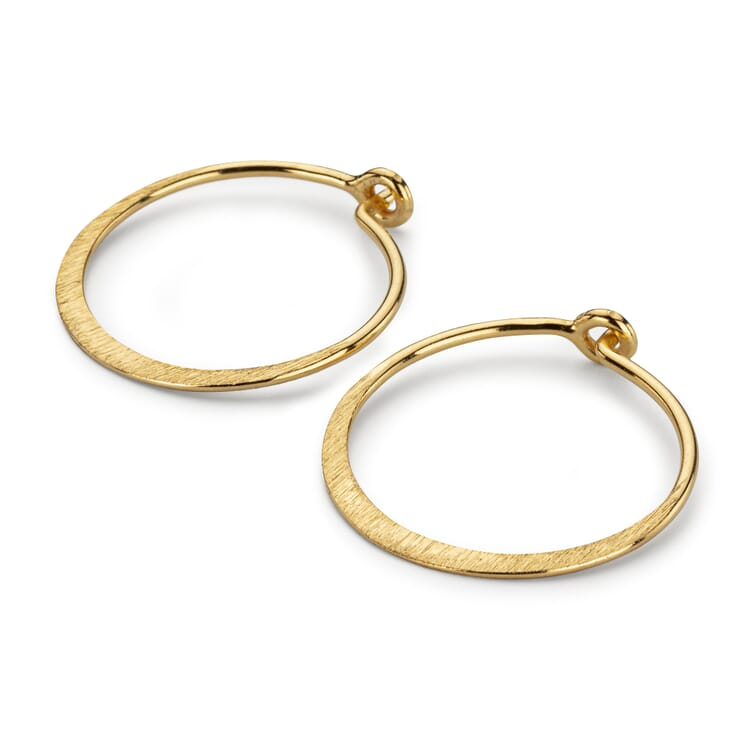 Creole Earrings Flat Band Made of Brushed Silver, Gold