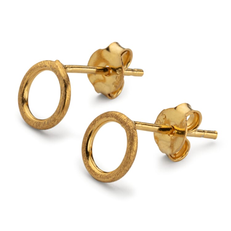 Stud Earrings Circle Made of Brushed Silver, Gold