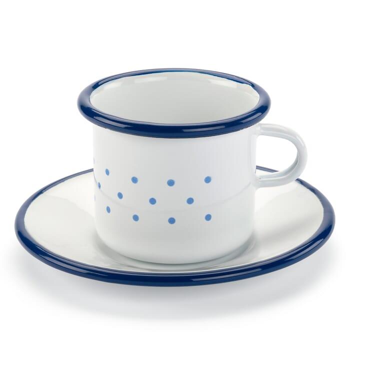 Emaille Tasse mit Untertasse klein
