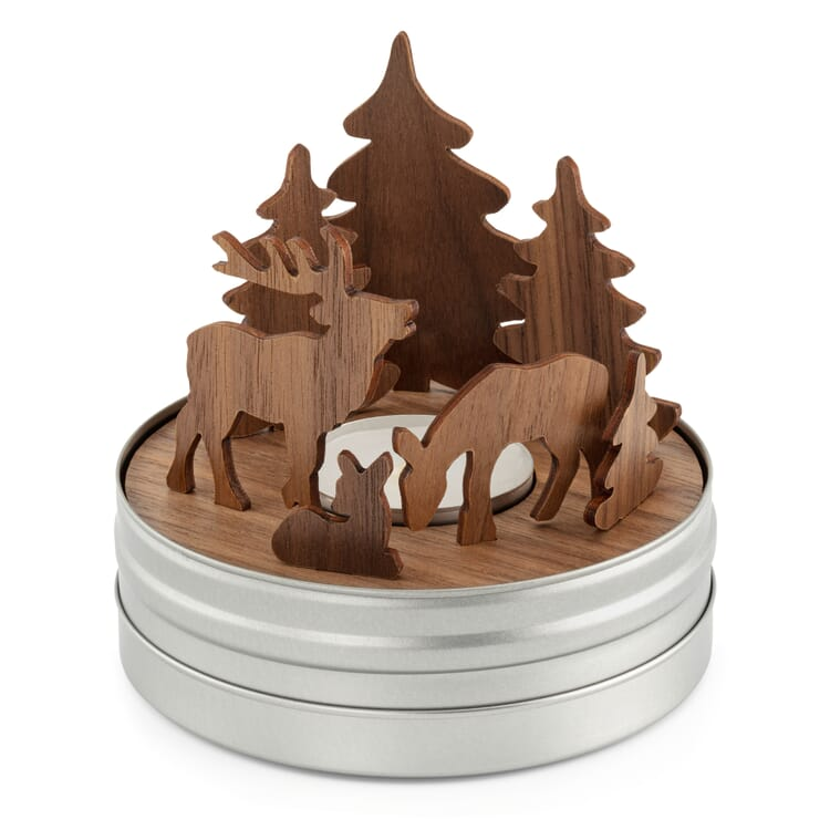 Tealight Holder with Wooden Scenery, Forest Scene