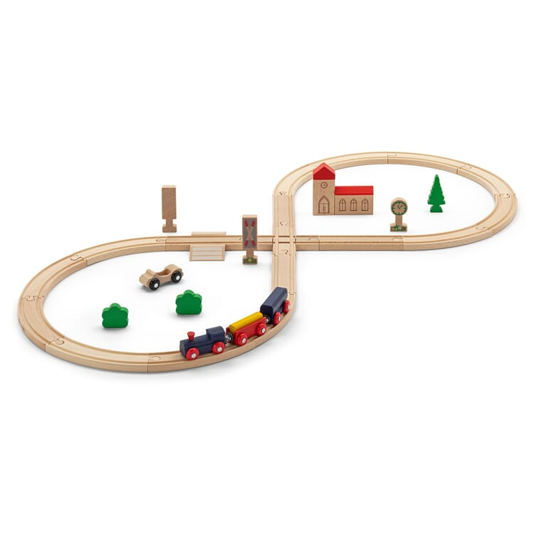 Toy Train-Set Mad of Beech Wood