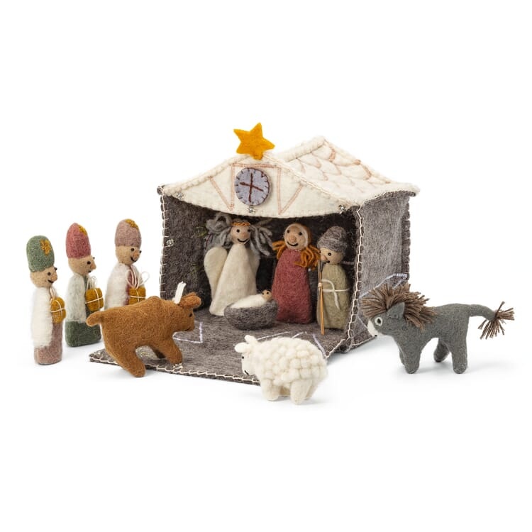 Nativity Scene with Felted Figurines