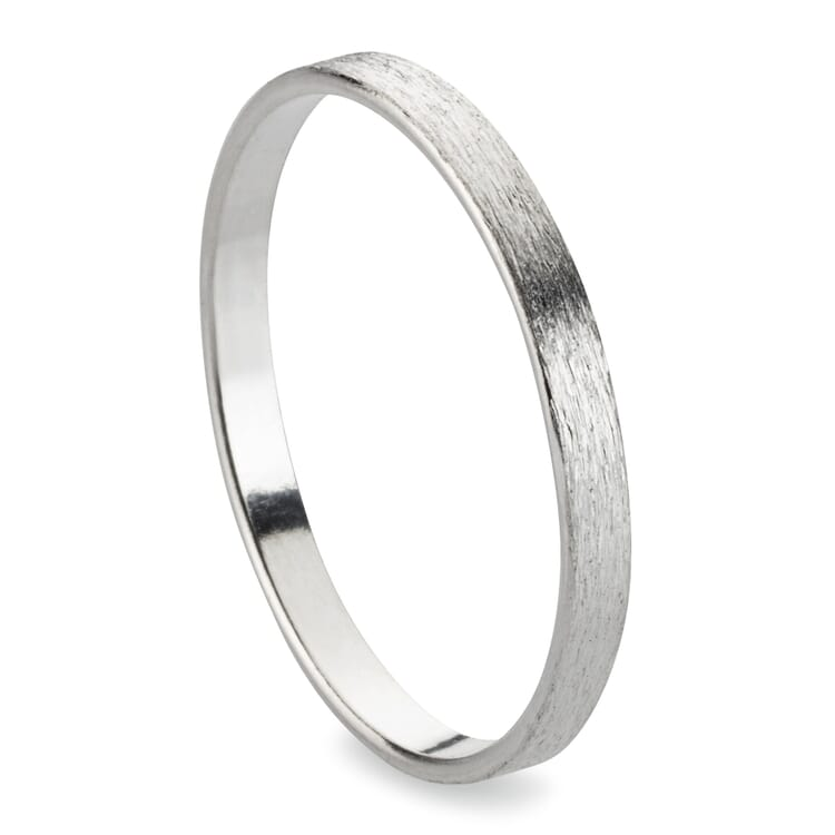 Finger Ring Band Made of Brushed Silver, Silver