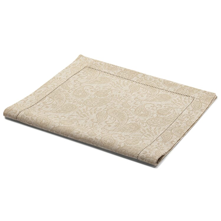 Jacquard-Woven Table Runner Made of Linen, Taupe