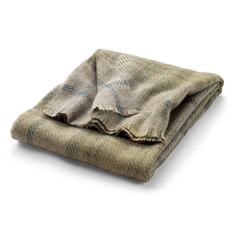 Tartan Blanket Made of Virgin Wool, Beige-Green