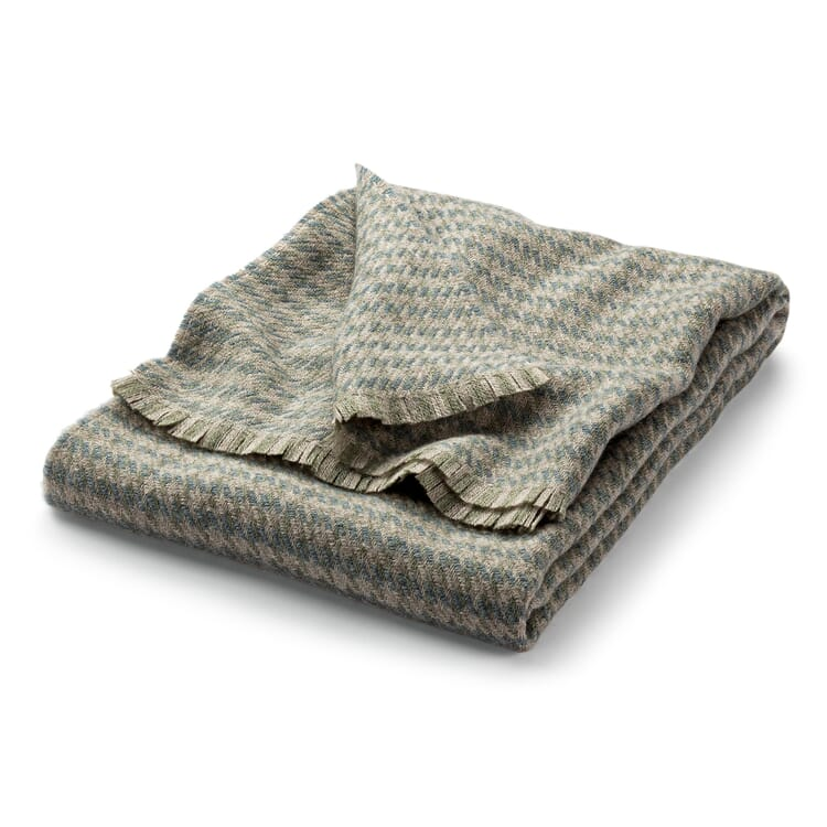 Blanket with Houndstooth Check Made of Virgin Wool, Beige-Blue