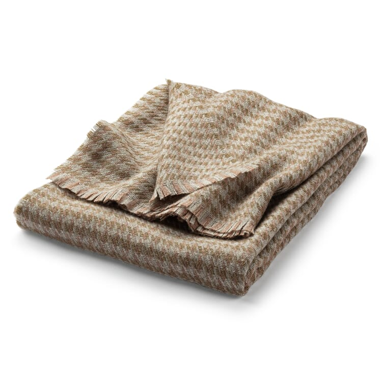 Blanket with Houndstooth Check Made of Virgin Wool, Beige-Pink