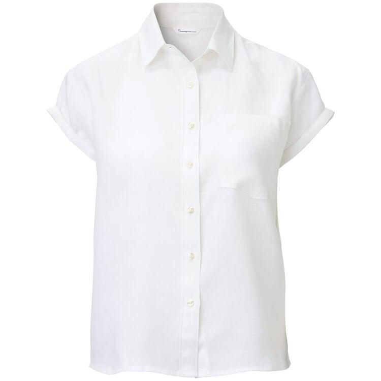 Damen-Leinenbluse Kurzarm Weiß