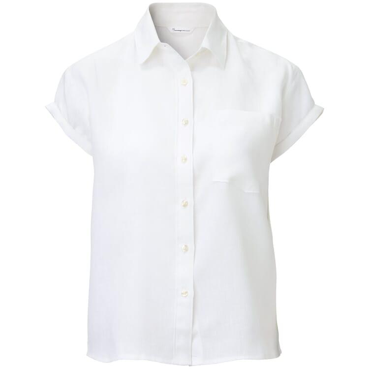 Damen-Leinenbluse Kurzarm, Weiß