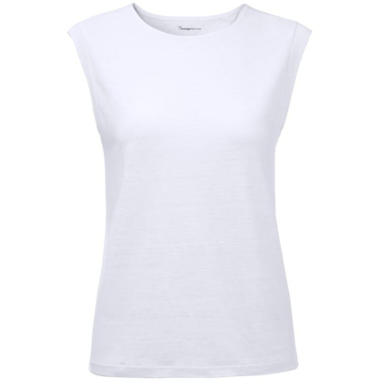 Women's Drop-Sholder T-Shirt Made of Linen, White