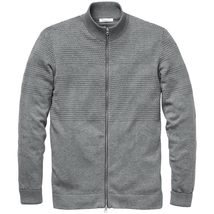 Men's Zip Cardigan, Mottled Grey