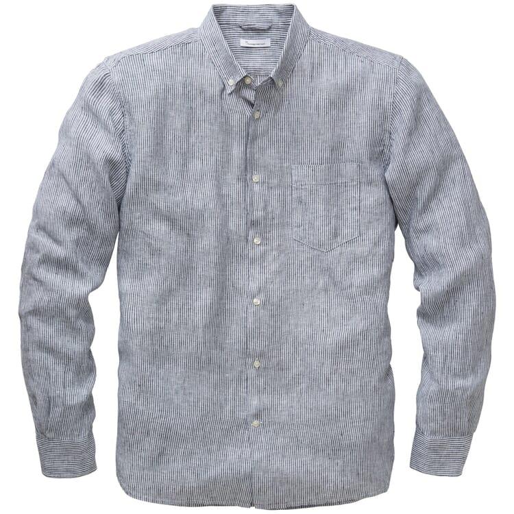 Men's Striped Linen Shirt, Blue-White