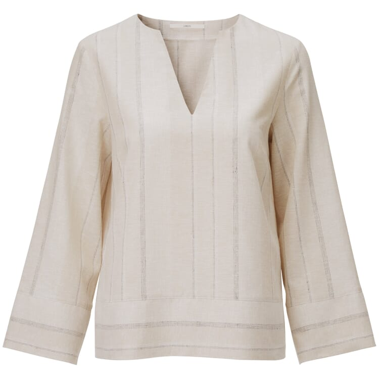 Women's Blouse Made of a Striped Hemp and Cotton Fabric