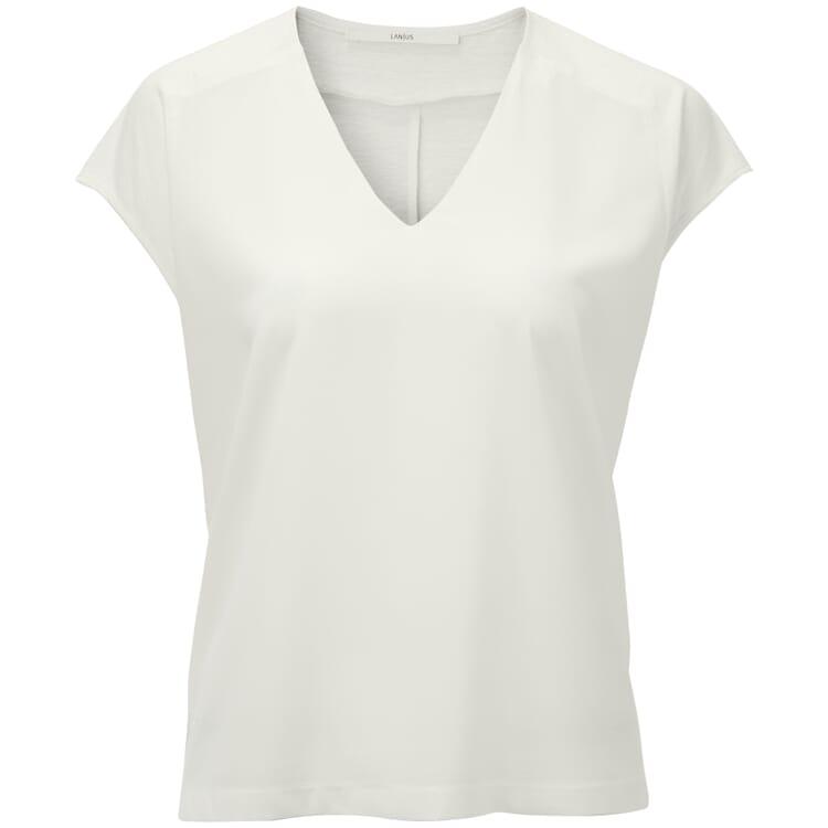 Women's T-Shirt Made of a Hemp Cotton Fabrik wtk Silk Appliqué, Ecru