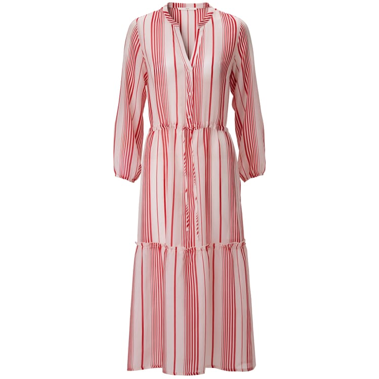 Women's Flounce Dress Made of a Striped Cottan and Solk Fabric
