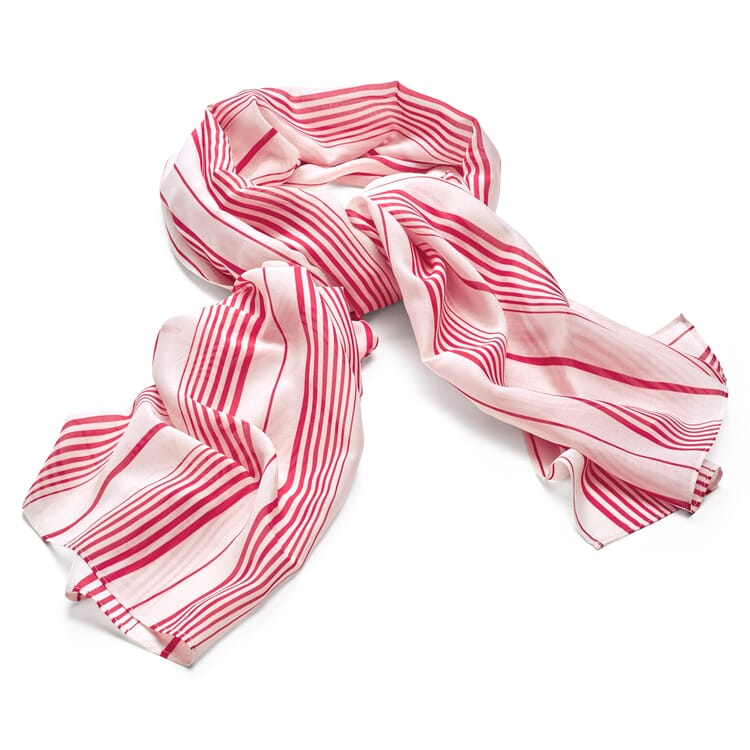 Women's Scarf Made of a Striped Cotton Silk Fabric