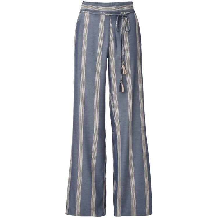 Wide Leg Trousers Marlene Style Made of Viscose, Blue-Ecru