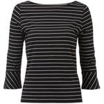 Damenshirt U-Boot-Ausschnitt Schwarz-Creme