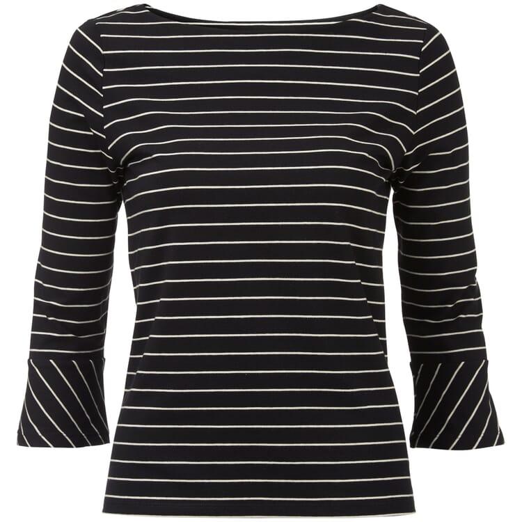 Damenshirt U-Boot-Ausschnitt, Schwarz-Creme