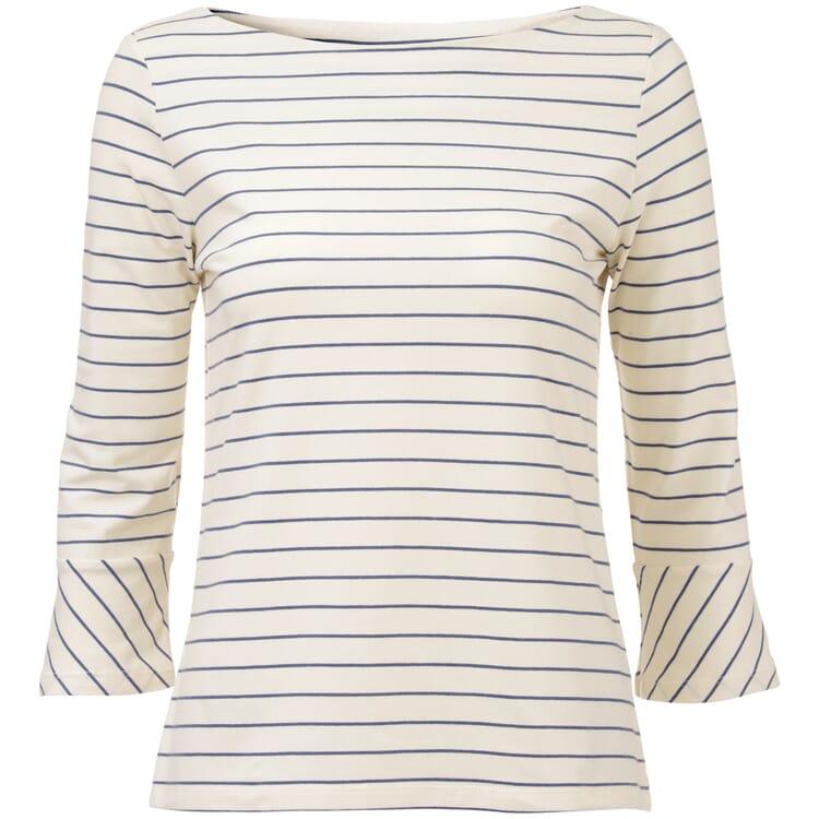 Women's T-Shirt with Sabrina Neckline, Ecru-Blue
