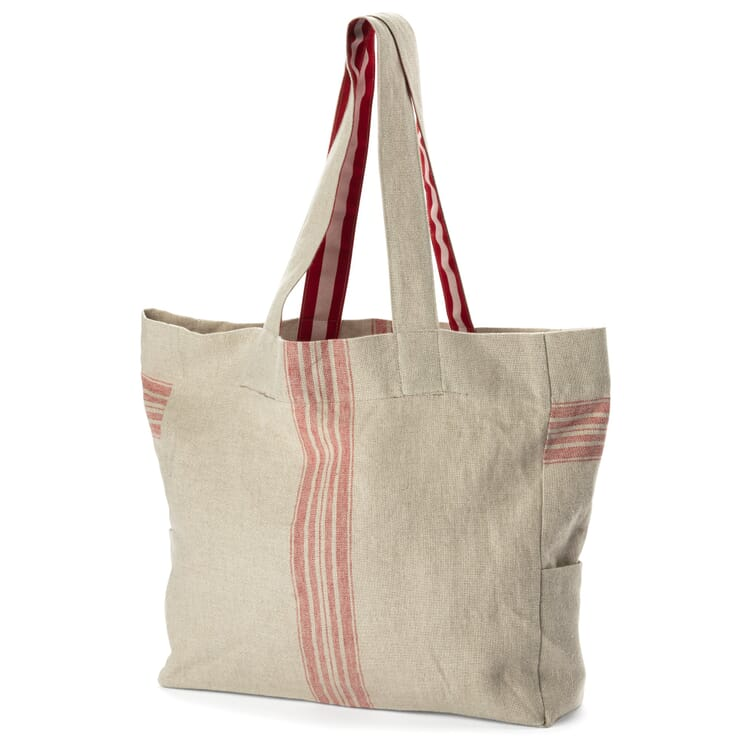 Shopper aus Leinen, Creme-Rot