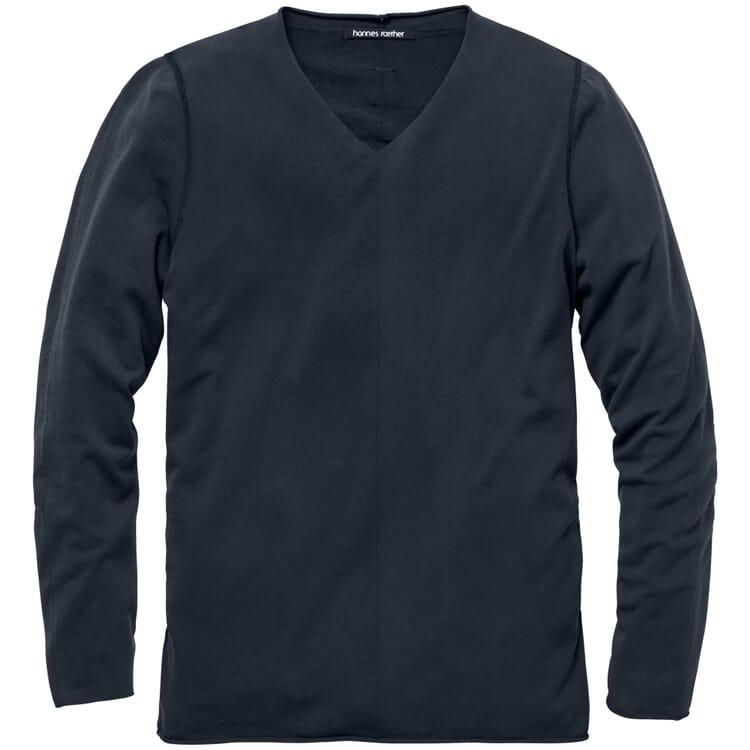 Light Men's Knit Pullover with a V-Neck, Black blue