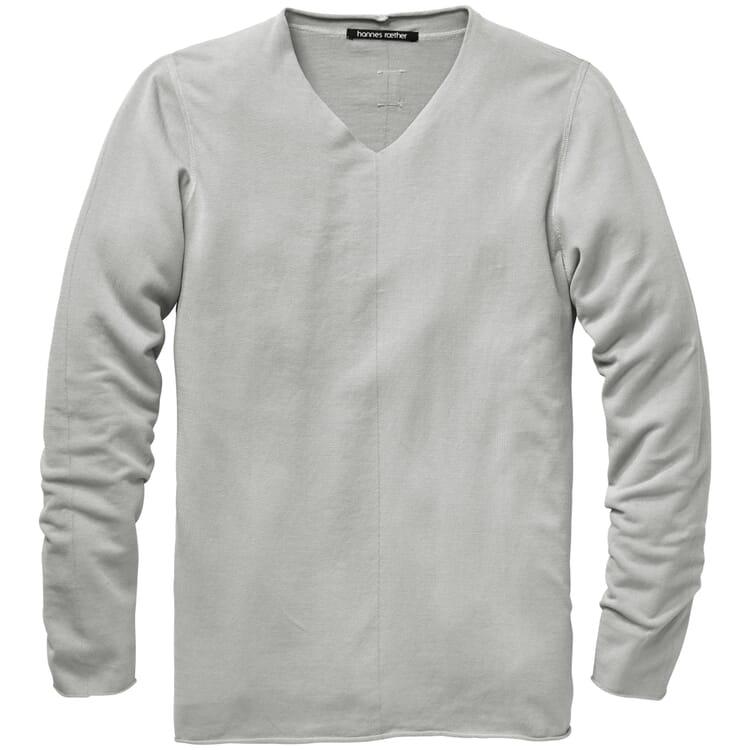 Light Men's Knit Pullover with a V-Neck, Light Grey