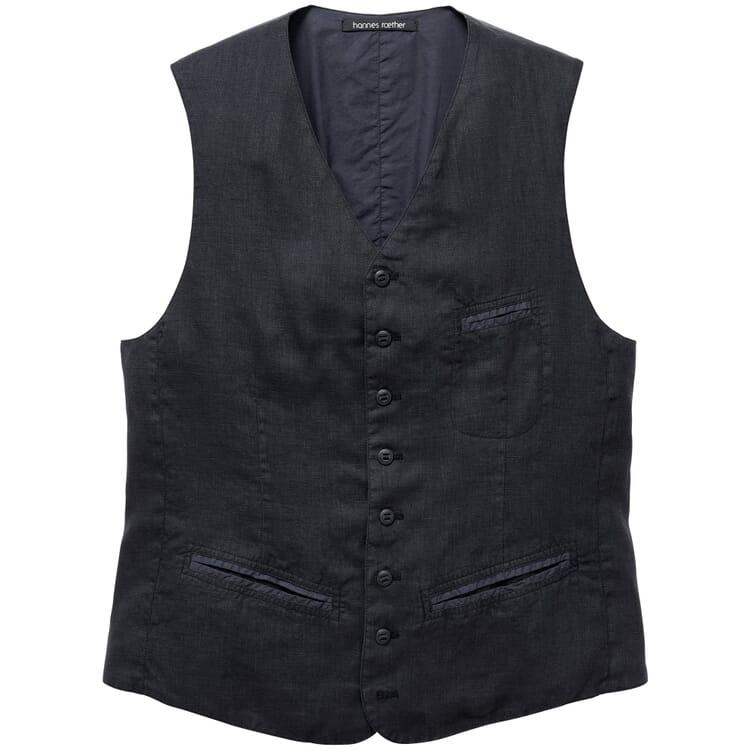 Men's Waistcoat Made of Linen, Black Blue