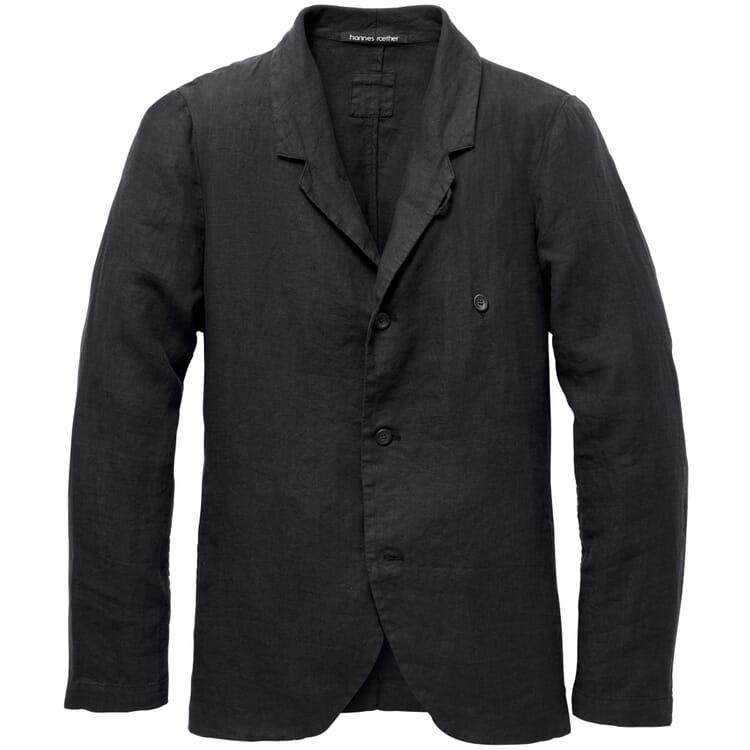 Men's Jacket Made of Linen, Black Blue