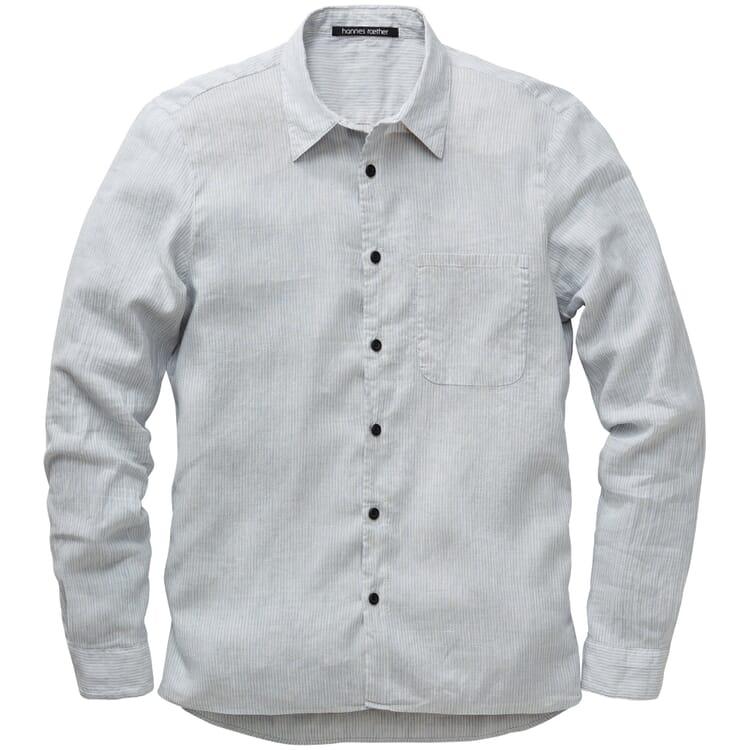Men's Shirt Made of Striped Linen Cotton Fabric, Grey