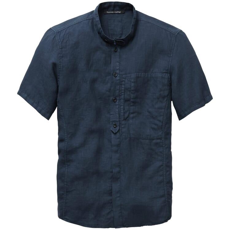 Men's Shirt with Short Sleeves, Black Blue