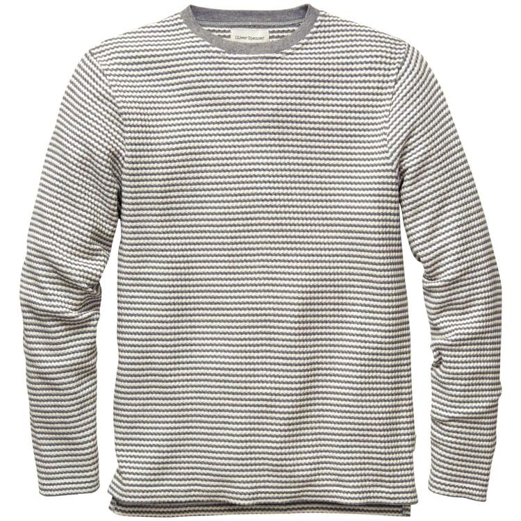 Herren-Langarmshirt, Grau-Weiß