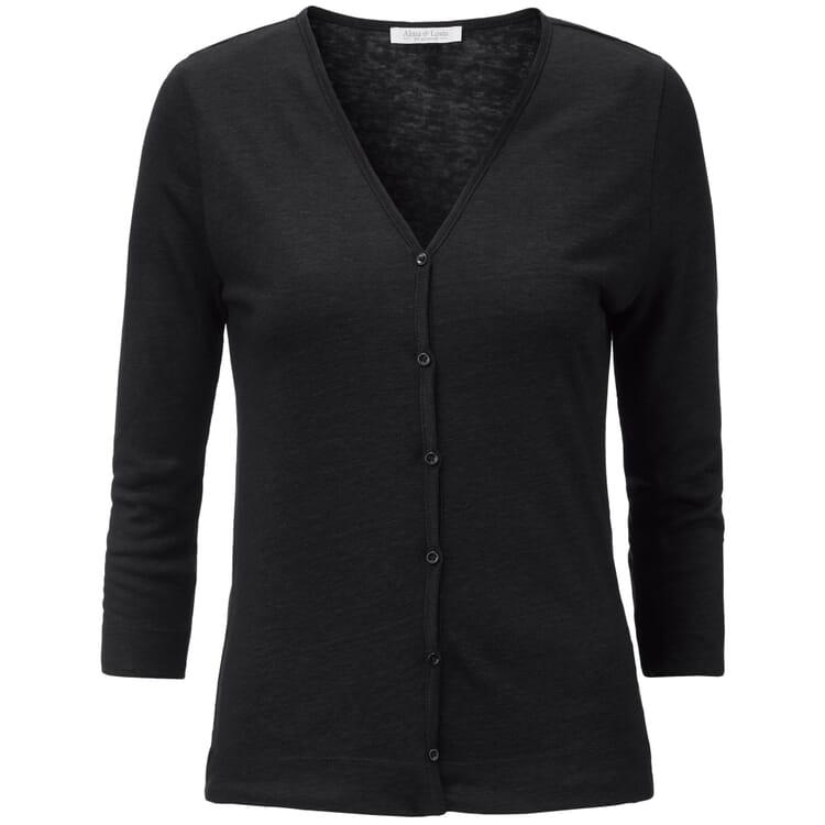 Women's Cardigan Made of Linen, Black